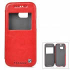 HOCO HT-L014 Protective PU + PC Full Body Case w/ Auto Sleep / Window for HTC One M8 - Red + Silver