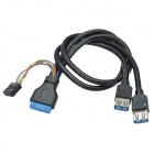 CHEERLINK Dual USB 3.0 Female to 20-Pin USB 3.0 + 9-Pin USB Cable for Front Panel of Desktop PC