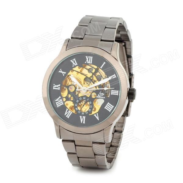 Men's Classic Analog Mechanical Wristwatch - Black + Gold