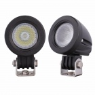 MZ 10W 800lm 6500K LED White Light Round Flood Work Lamps - Black (2 PCS / 9~45V)