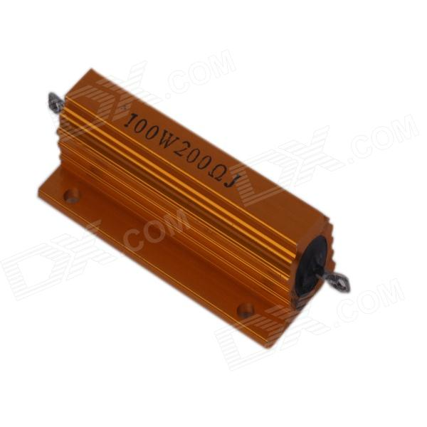 100W 200ohm Aluminum Alloy Resistor - GoldenOther Accessories<br>ColorGoldenBrandZnDiy-BRYModel100W 200Quantity1 PieceMaterialAluminium alloyEnglish Manual / SpecNoPacking List1 x Resistor<br>