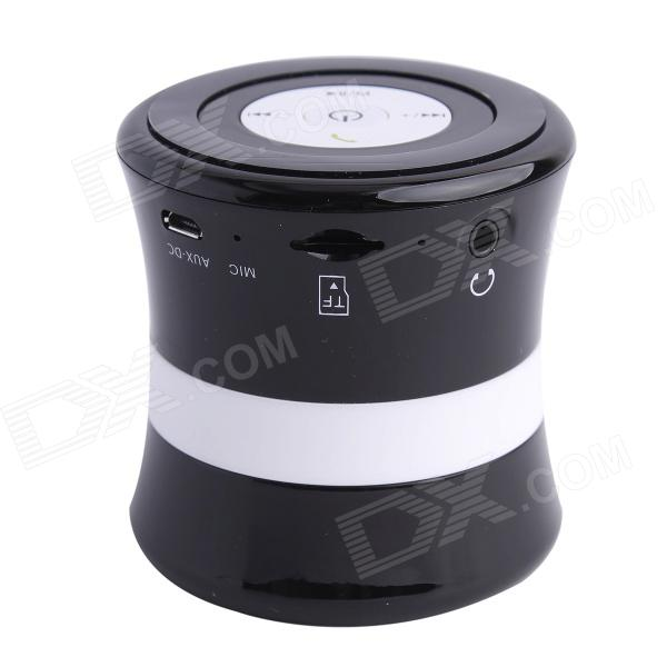 SDH-100 Mini Portable Bluetooth V3.0 Stereo Speaker w/ Mic, TF Slot - Black + White gl 2 portable rugby shaped wireless bluetooth v2 1 speaker w fm tf card slot white black