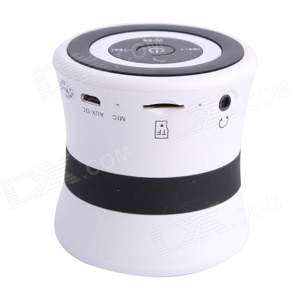 SDH-100 Mini Portable Bluetooth V3.0 Stereo Speaker w/ Mic, TF Slot - White + Black gl 2 portable rugby shaped wireless bluetooth v2 1 speaker w fm tf card slot white black