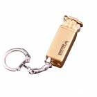 Vintage Mini Flint Grinding Wheel Butane Lighter w/ Keychain - Golden
