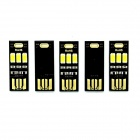 Soshine Portable Mini USB  80lm 3-LED White Light Night Lamp - Black (5 PCS)