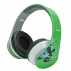 HAVIT HV-85D Adjustable Big Ear Pad Headphones w/ Microphone - Green + Black