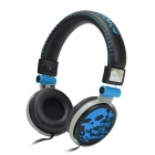 HAVIT HV-H83D 3.5mm 3D Stereo Cool Skull Style Headphones w/ Big Ear Pad - Black + Blue