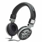 HAVIT HV-H83D 3.5mm 3D Stereo Cool Skull Style Headphones w/ Big Ear Pad / Microphone - Black + Grey