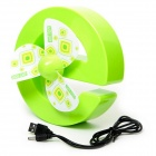 RFH Cute E-Shaped Rechargeable USB Mini Desk Fan - Green