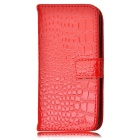 Angibabe Crocodile Pattern Protective Cow Split Leather Case Cover Stand for Samsung Galaxy S5 - Red