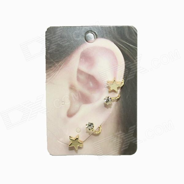 Fashion Star Style Zinc Alloy + Rhinestones Clip Earrings - Golden (Pair)