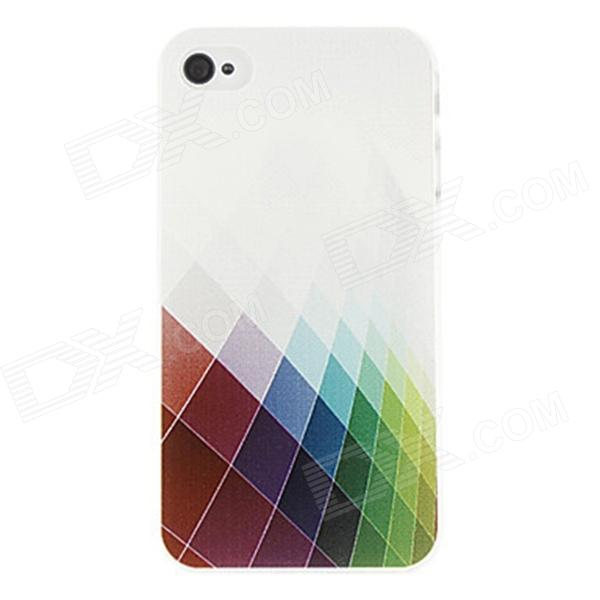 Kinston Beautiful Colorful Grid Pattern Protective Plastic Hard Back Case for IPHONE 4 / 4S - White kinston kst00045 grid pattern protective plastic hard back case for iphone 4 4s white black