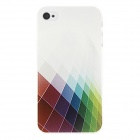 Kinston Beautiful Colorful Grid Pattern Protective Plastic Hard Back Case for IPHONE 4 / 4S - White
