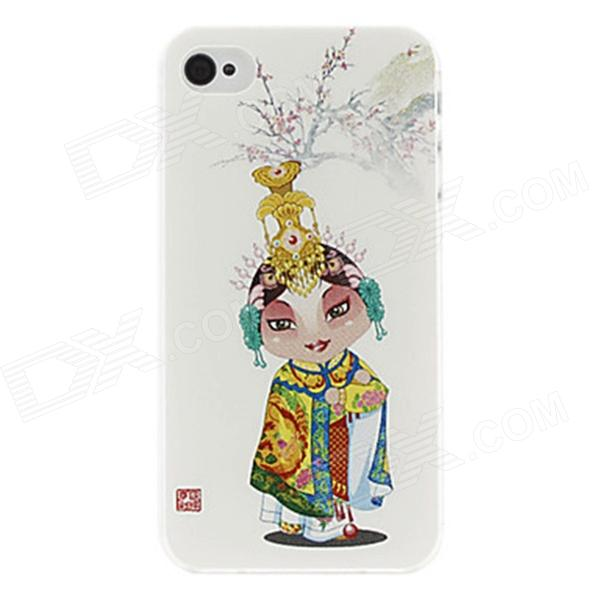 Kinston Peking Opera flickan mönster Hard Case för IPHONE 4 / 4S - vit + gul