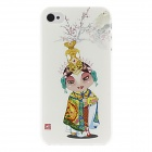 Kinston Peking Opera Girl Pattern Hard Case for IPHONE 4 / 4S - White + Yellow