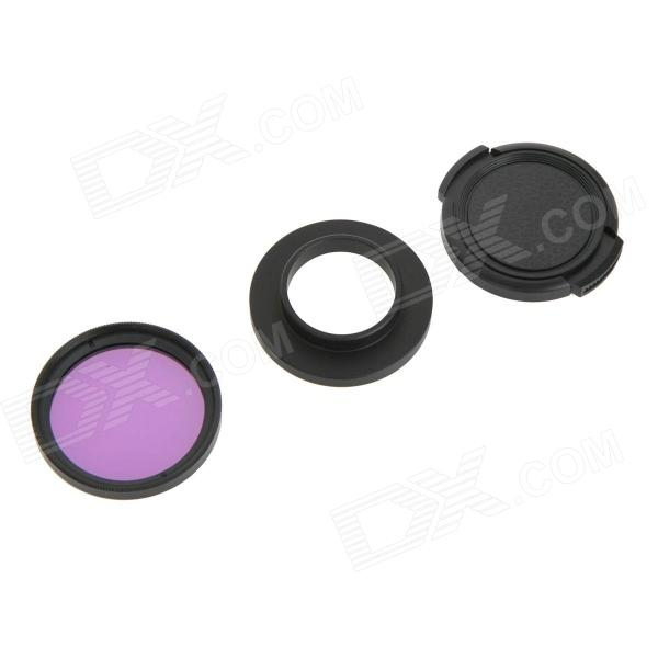 DUALANE C00854 37mm Red Filter + Lens Hood + Lens Cap Kit for GoPro Hero 3 / 3+ - Purple