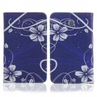 ENKAY Flower Pattern Protective Case Cover Stand for Samsung Galaxy Tab 3 Lite T110 - Dark Blue