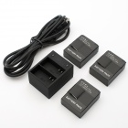 JUSTONE J057 Dual Slot Charger + 3-Batteries for GoPro Hero 3 / 3+ - Black