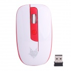 Jiete 3237 2.4GHz Wireless 1000~1600DPI Optical Mouse - Red + White (2 x AAA)