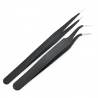 VETUS Professional Anti-Static Steel Straight and Angled Tweezers - Black (2 PCS)