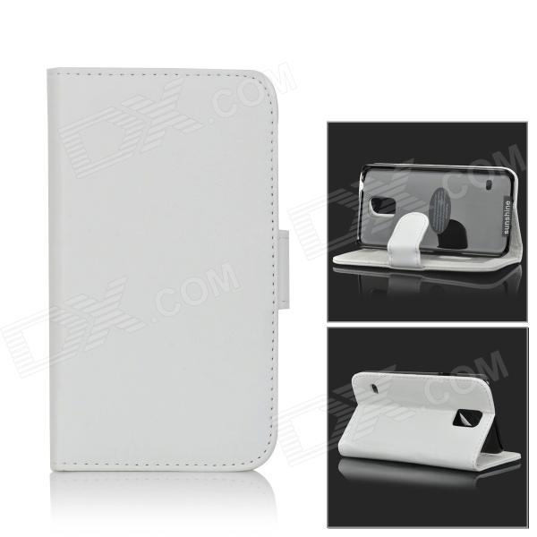 SUNSHINE Slip-open PU Case w/ Stylus + Card Slot + Holder for Samsung Galaxy S5 - White - DXLeather Cases<br>Color White Brand SUNSHINE Model N/A Material PU Quantity 1 Set Shade Of Color White Compatible Models Samsung Galaxy S5 Packing List 1 x Case 1 x Stylus<br>