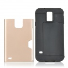 Stylish 2-in-1 TPU + PC Back Case w/ Card Slot for Samsung Galaxy S5 - Champagne + Black