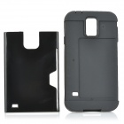Stylish 2-in-1 TPU + PC Back Case w/ Card Slot for Samsung Galaxy S5 - Black