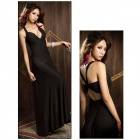 Sexy Deep V Milk Silk Formal Dress - Black (Free Size)