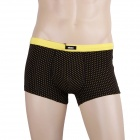 Soft Breathable Men's Boxers Underwear - Black + Yellow (Size XL)