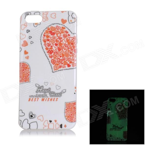 Stylish Glow-in-the-dark Cartoon Pattern TPU Back Case for IPHONE 5 / 5S - White + Red  glossy tpu gel cartoon pattern mobile cover for iphone 7 plus 5 5 inch polar bear