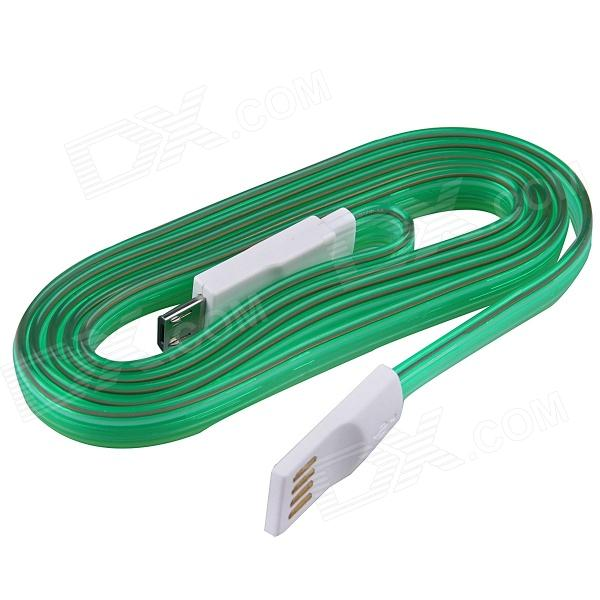 USB 2.0 to Micro USB Charging / Data Sync Cable w/ LED for Samsung / Motorola + More - Green (100cm) usb 4 pin to micro usb 5 pin data sync charging cable w stand for htc more green 120cm