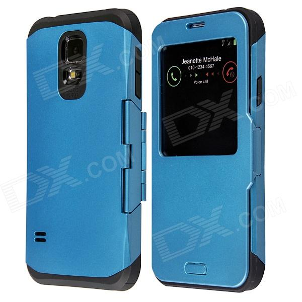 Protective Flip Open PC + TPU Back Case w/ Display Window for Samsung Galaxy S5 - Blue nillkin protective pc tpu back case for samsung galaxy s5 g900 red