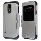 Protective Flip Open PC + TPU Back Case w/ Display Window for Samsung Galaxy S5 - Silver