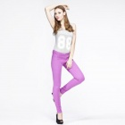 Catwalk88 Women's Candy Slim Low Waist Cotton Pencil Pants - Purple (Size 27)