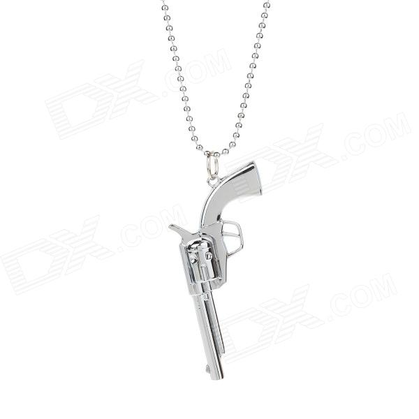 Creative Fashion Gun Shape Pendant Long Necklace - Silver