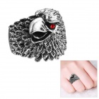 EQute Fashion Punk Eagle Style Red Eye Finger Ring - Antique Silver (Size 9)