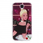 Kinston Elegant Lady Pattern Plastic Back Case for Samsung Galaxy i9500 - Black + Multi-Colored