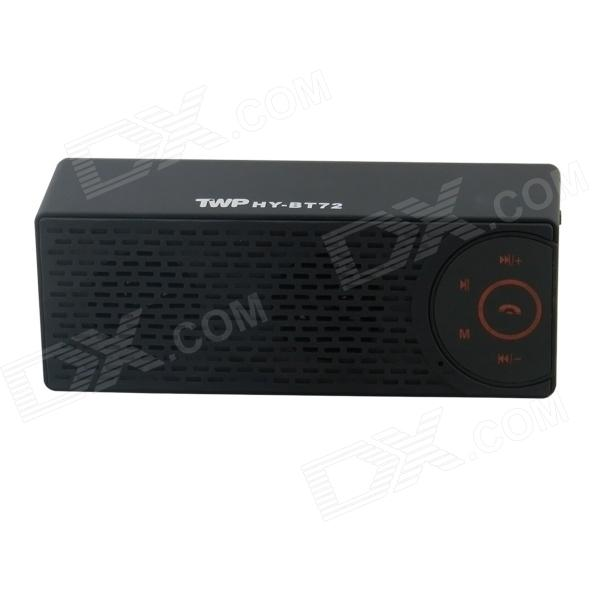 TWP HY-BT72 Mini Bluetooth V3.0 Speaker w/ TF / USB / AUX / Mic - Black mini cylinder shaped bluetooth v2 0 speaker w fm tf mini usb usb blue black transparent