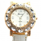 Stylish PU Leather Band Women's Quartz Analog Wrist Watch - White + Golden (1 x 626)