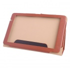 8.9 Inch Solid Color PU Tablet Case w/ Stand for Teclast P90 Tablet PC - Brown