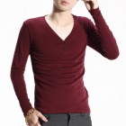 FENL 6689 Men's Fashion Slim Fit V-Neck Long Sleeves T-Shirt Tee - Claret Red (Size XL)