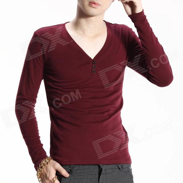 FENL 6689 Men's Fashion Slim Fit V-Neck Long Sleeves T-Shirt Tee - Burgundy (Size XXL)