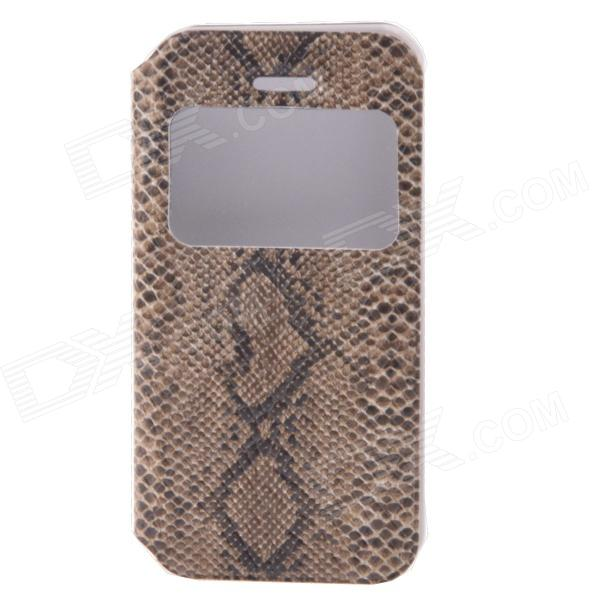 Protection en cuir PU flip-ouvert Case w / Case Vitrine / plastique pour l'iPhone 5 / 5S - Brown