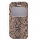 Protective PU Leather Flip-Open Case w/ Display Window / Plastic Back Case for IPHONE 5 / 5S - Brown