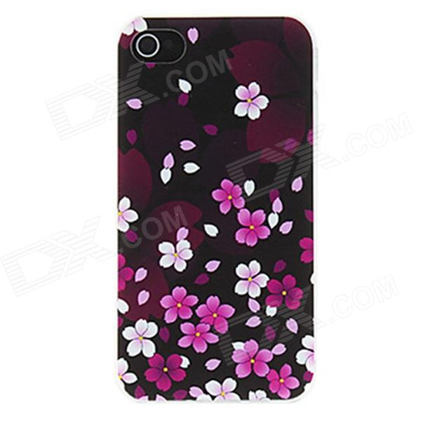 Kinston Peach Blossom Fall in Dark Pattern Matte Designed PC Hard Case for IPHONE 4 / 4S cartoon pattern matte protective abs back case for iphone 4 4s deep pink