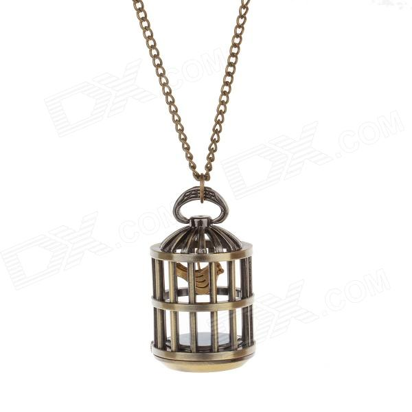 Retro Cage & Pocket Watch Style Sweater Chain Necklace - Antique Brass vintage cartoon camera shape sweater chain pocket watch pendant necklace korean style hot