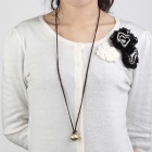 Unique Fashion Ball Style Pendant Zinc Alloy Sweater Chain / Necklace - Golden + Brown
