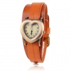 Women's Heart Shaped Zinc Alloy Casing Split Leather Band Analog Quartz Watch (1 x SR626)