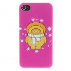Kinston kst01605 Cartoon + Stars Pattern Matte PC Back Case for IPHONE 4 / 4S - Dark Pink