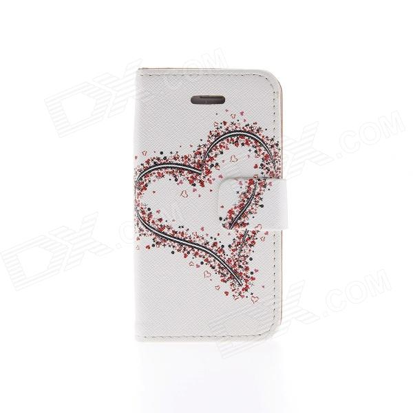 Kinston KST02198 Heart Pattern PU Leather Full Body Case w/ Stand for IPHONE 4 / 4S - White + Red сотовый телефон huawei honor 8 pro black